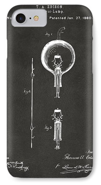 1880 Edison Electric Lamp Patent Artwork - Gray IPhone Case by Nikki Marie Smith
