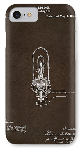 IPhone Case featuring the drawing 1880 Edison Electric Lights Patent Artwork Espresso by Nikki Marie Smith