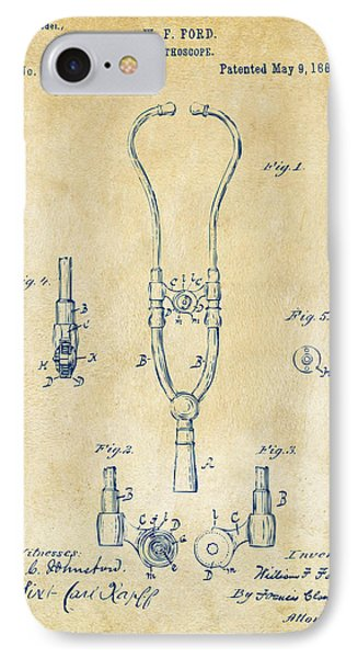 1882 Doctor Stethoscope Patent - Vintage IPhone Case by Nikki Marie Smith