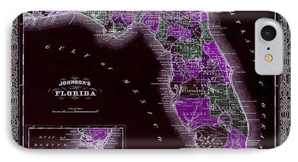 1883 Florida Map Black IPhone Case by Jon Neidert