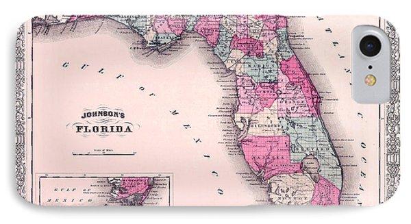 1883 Florida Map  IPhone Case by Jon Neidert