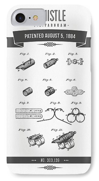 1884 Whistle Patent Drawing IPhone Case by Aged Pixel