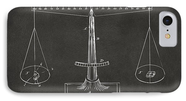 1885 Balance Weighing Scale Patent Artwork - Gray IPhone Case