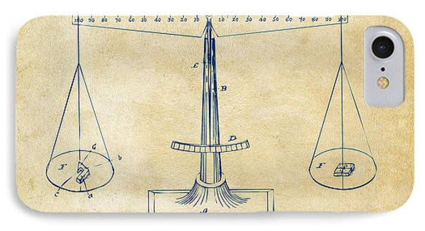 1885 Balance Weighing Scale Patent Artwork Vintage IPhone Case