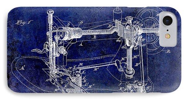 1885 Sewing Machine Patent Drawing Blue IPhone Case by Jon Neidert