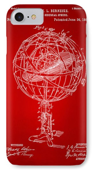 1885 Terrestro Sidereal Sphere Patent Artwork - Red IPhone Case by Nikki Marie Smith