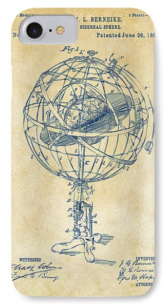 1885 Terrestro Sidereal Sphere Patent Artwork - Vintage IPhone Case by Nikki Marie Smith