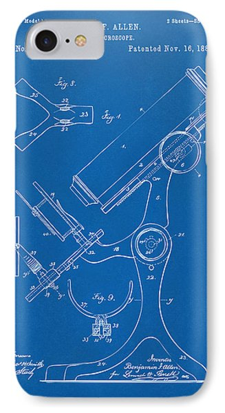 1886 Microscope Patent Artwork - Blueprint IPhone Case by Nikki Marie Smith