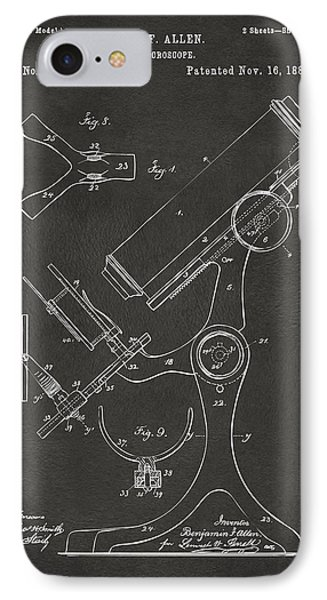 1886 Microscope Patent Artwork - Gray IPhone Case by Nikki Marie Smith