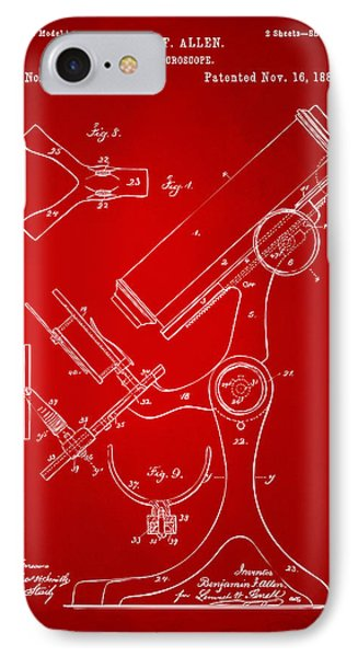 1886 Microscope Patent Artwork - Red IPhone Case by Nikki Marie Smith