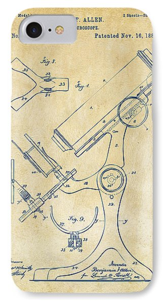 1886 Microscope Patent Artwork - Vintage IPhone Case by Nikki Marie Smith