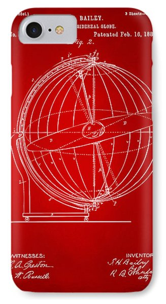 1886 Terrestro Sidereal Globe Patent 2 Artwork - Red IPhone Case by Nikki Marie Smith