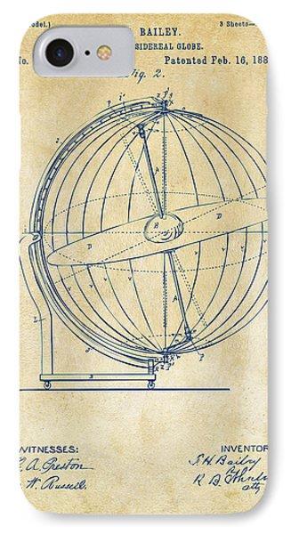 1886 Terrestro Sidereal Globe Patent 2 Artwork - Vintage IPhone Case by Nikki Marie Smith