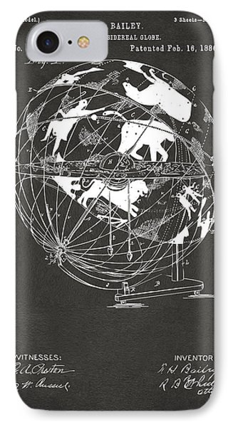 1886 Terrestro Sidereal Globe Patent Artwork - Gray IPhone Case by Nikki Marie Smith