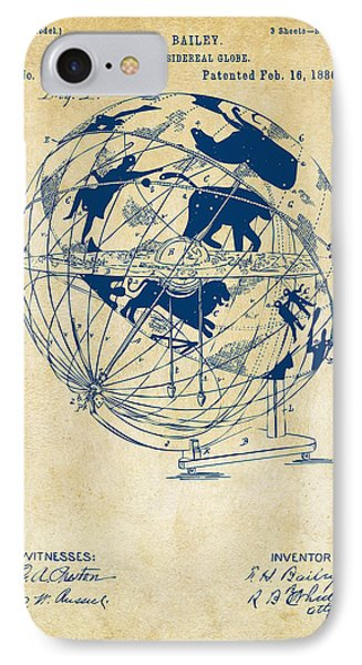 1886 Terrestro Sidereal Globe Patent Artwork - Vintage IPhone Case by Nikki Marie Smith