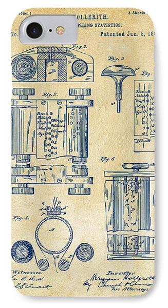 1889 First Computer Patent Vintage IPhone Case by Nikki Marie Smith