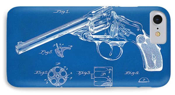 1889 Wesson Revolver Patent Minimal - Blueprint IPhone Case by Nikki Marie Smith