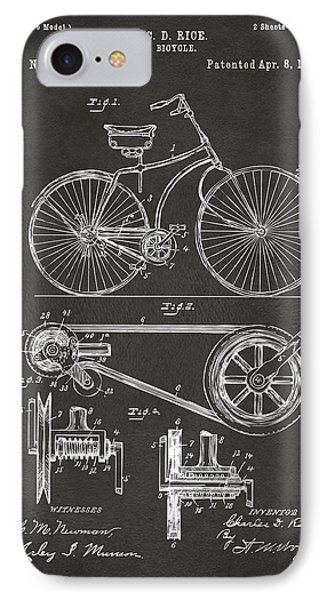 1890 Bicycle Patent Artwork - Gray IPhone Case