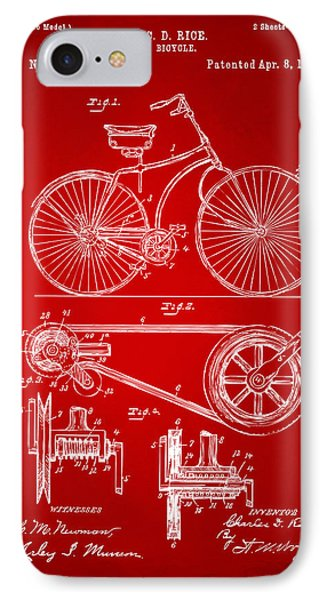 1890 Bicycle Patent Artwork - Red IPhone Case by Nikki Marie Smith
