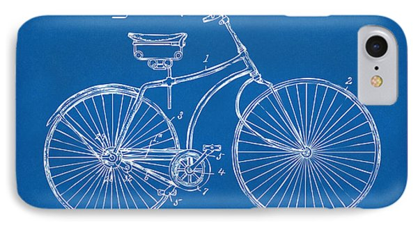 1890 Bicycle Patent Minimal - Blueprint IPhone Case by Nikki Marie Smith