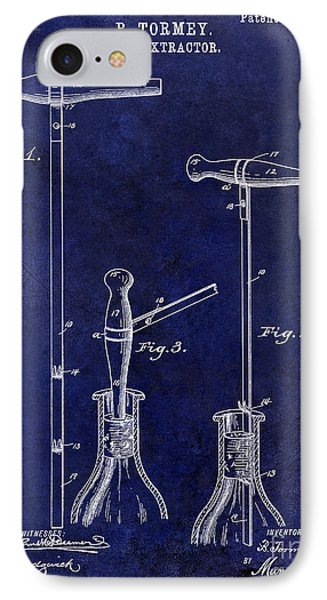 1890 Cork Extractor Patent Drawing Blue IPhone Case by Jon Neidert
