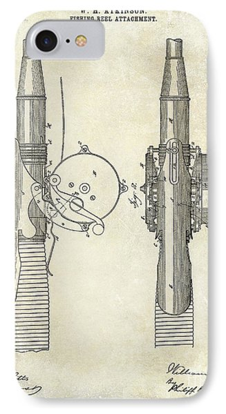 1890 Fishing Reel Patent Drawing  IPhone Case