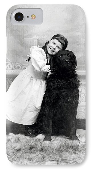 1890 Happy Girl And Her Retriever  IPhone Case