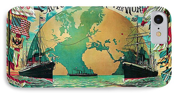 IPhone Case featuring the mixed media 1890 Round The World Voyage - Vintage Travel Art by Presented By American Classic Art
