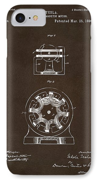 IPhone Case featuring the drawing 1890 Tesla Motor Patent Espresso by Nikki Marie Smith