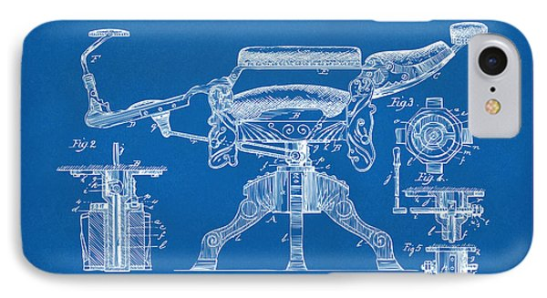 1891 Barber's Chair Patent Artwork Blueprint IPhone Case by Nikki Marie Smith