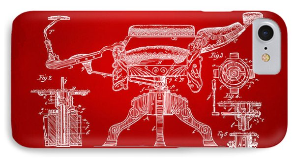 1891 Barber's Chair Patent Artwork Red IPhone Case by Nikki Marie Smith
