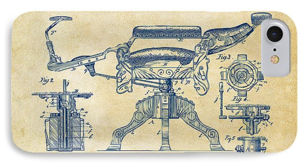1891 Barber's Chair Patent Artwork Vintage IPhone Case by Nikki Marie Smith