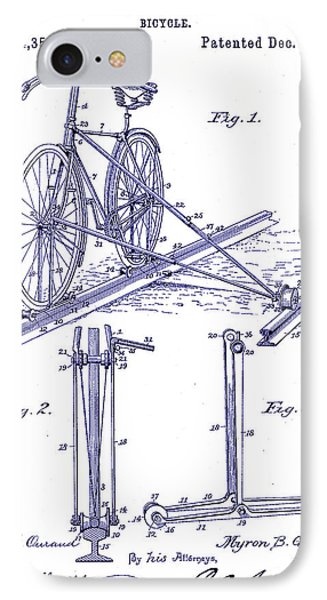 1891 Bicycle Patent Blueprint IPhone Case by Jon Neidert