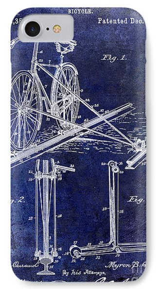 1891 Bicycle Patent Drawing Blue IPhone Case by Jon Neidert