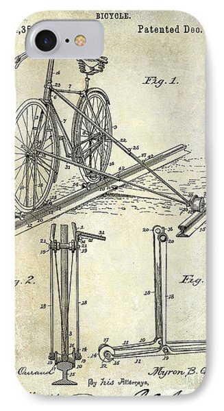 1891 Bicycle Patent Drawing IPhone Case by Jon Neidert