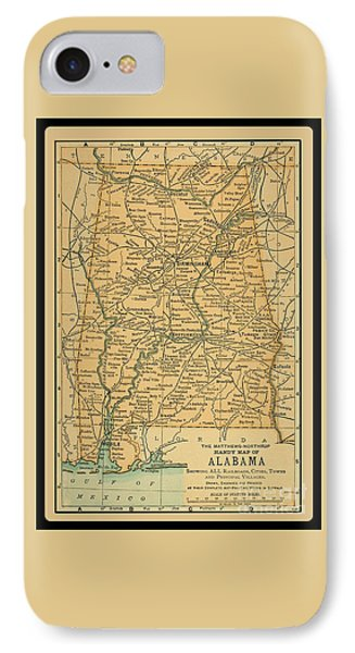 1891 Map Of Alabama IPhone Case