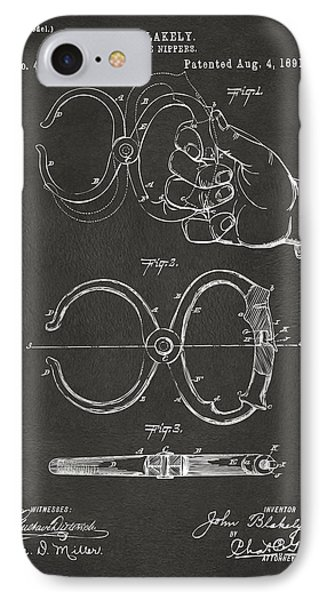 1891 Police Nippers Handcuffs Patent Artwork - Gray IPhone Case by Nikki Marie Smith
