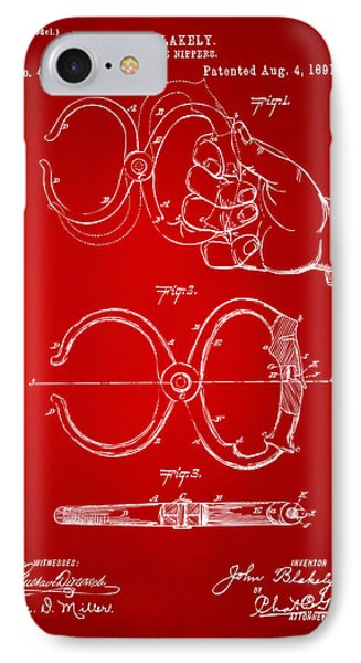 1891 Police Nippers Handcuffs Patent Artwork - Red IPhone Case by Nikki Marie Smith