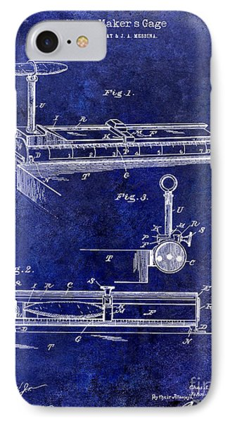 1893 Cigar Makers Gage Patent Drawing Blue IPhone Case