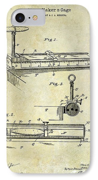 1893 Cigar Makers Gage Patent Drawing  IPhone Case