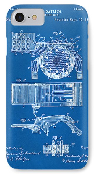 1893 Gatling Machine Gun Feed Patent Artwork - Blueprint IPhone Case by Nikki Marie Smith