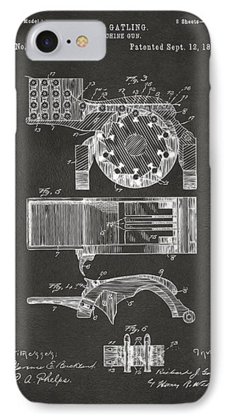 1893 Gatling Machine Gun Feed Patent Artwork - Gray IPhone Case by Nikki Marie Smith