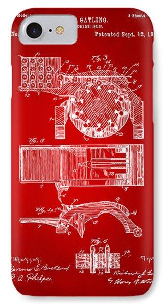 1893 Gatling Machine Gun Feed Patent Artwork - Red IPhone Case by Nikki Marie Smith