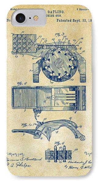 1893 Gatling Machine Gun Feed Patent Artwork - Vintage IPhone Case by Nikki Marie Smith