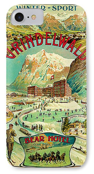 IPhone Case featuring the mixed media 1893 Grindelwald Vintage Travel Art by Presented By American Classic Art