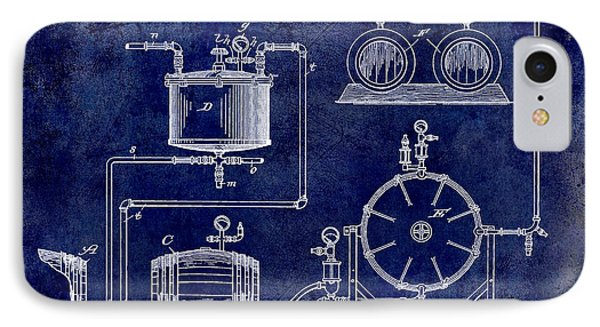 1893 Manufacture Of Beer Patent Drawing Blue IPhone Case by Jon Neidert