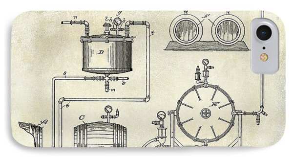 1893 Manufacture Of Beer Patent Drawing IPhone Case by Jon Neidert