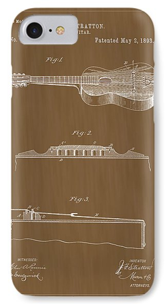 1893 Stratton Guitar Patent Art IPhone Case by Barry Jones