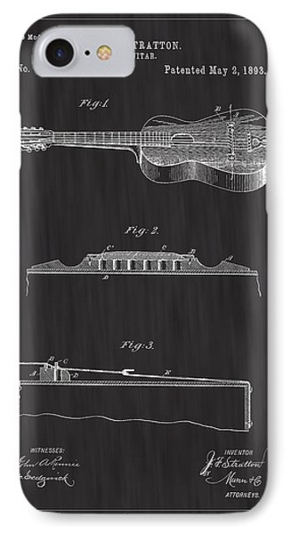 1893 Stratton Guitar Patent Art - Bk IPhone Case by Barry Jones