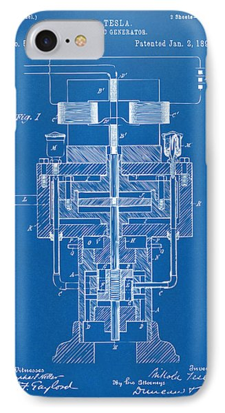 IPhone Case featuring the drawing 1894 Tesla Electric Generator Patent Blueprint by Nikki Marie Smith
